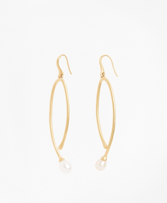 Freshwater Pearl Gold-Plated  Long Drop Earrings