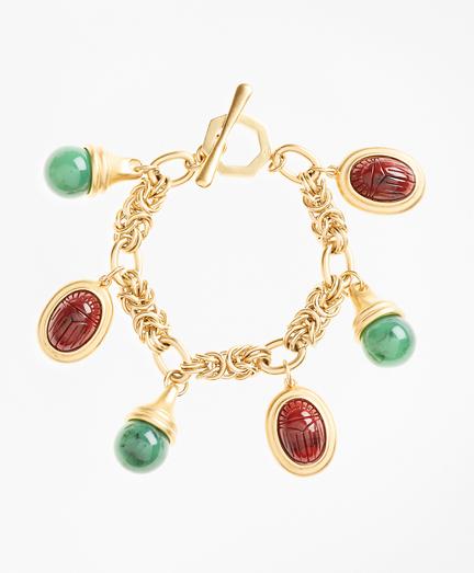 Poppy Jasper Scarab Charm Bracelet