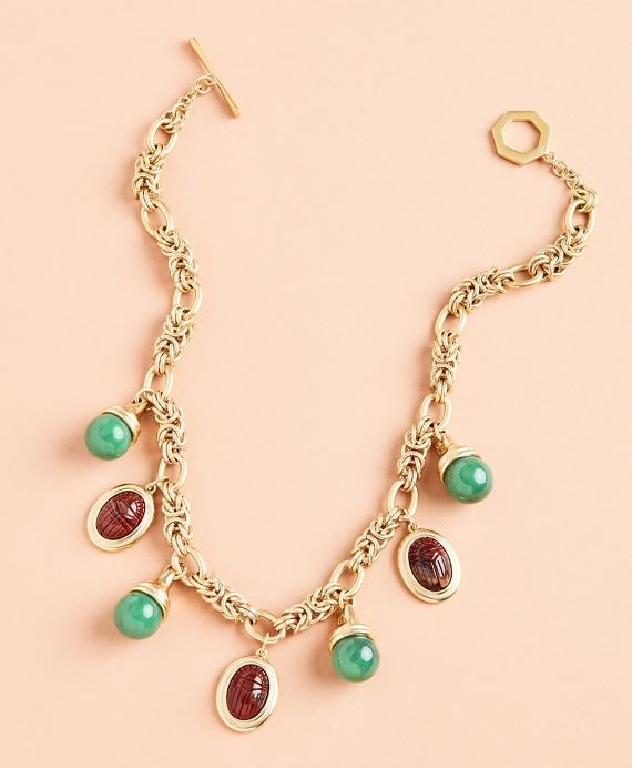 Poppy Jasper Scarab Charm Necklace Gold