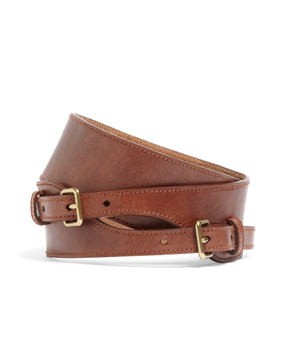 Calfskin Double Buckle Belt Brown
