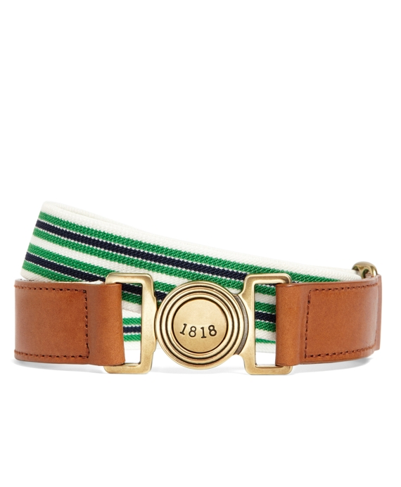 Cotton Stretch Striped Belt Navy-Green