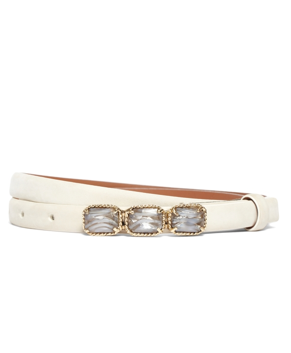 Nubuck Jeweled Plaque Belt White