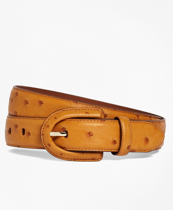 Ostrich Covered Buckle Belt Cognac