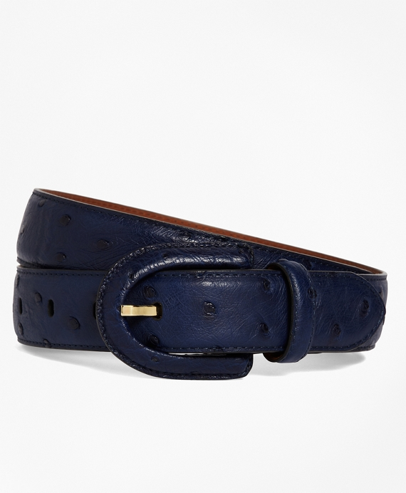 Ostrich Covered Buckle Belt Navy