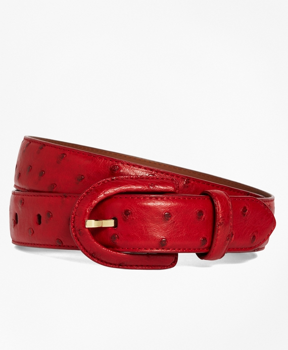 Ostrich Covered Buckle Belt Red