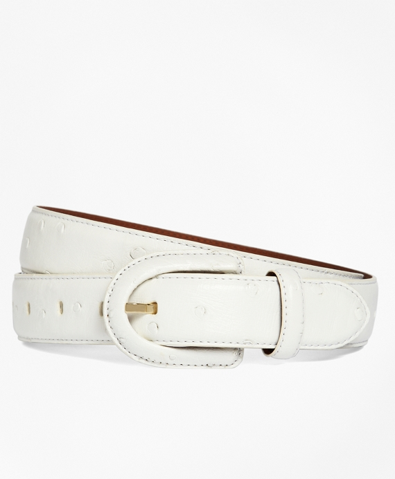 Ostrich Covered Buckle Belt White