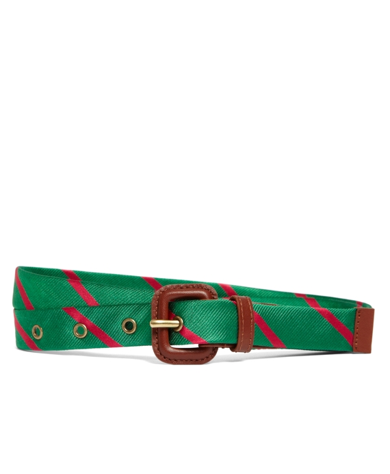 Silk Tie Stripe Belt Green-Pink
