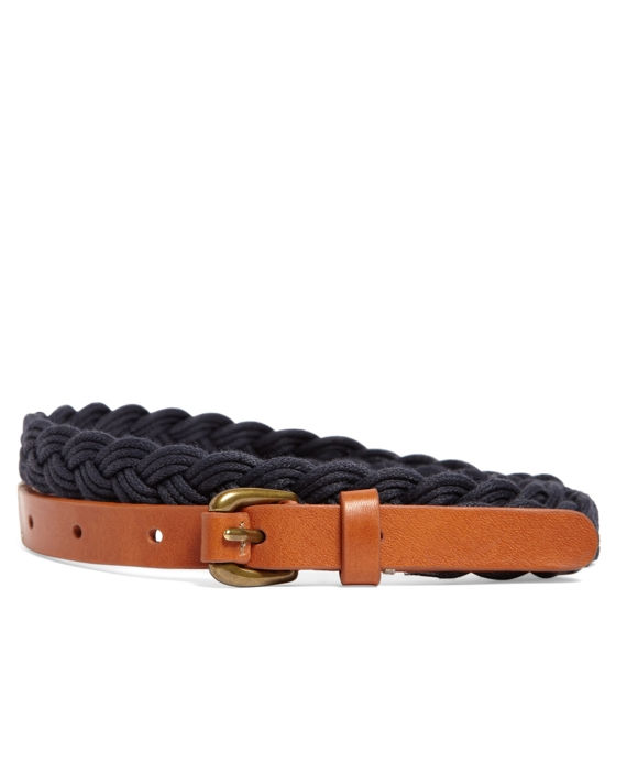Waxed Cotton Braided Belt Navy