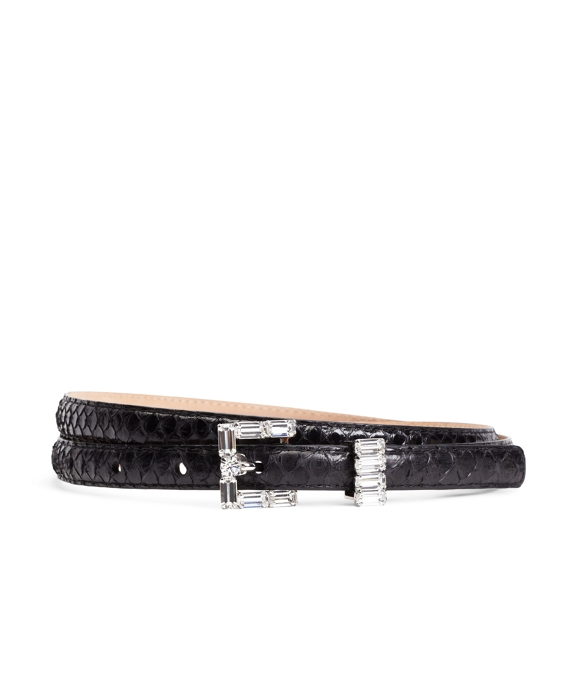 Embossed Calfskin Crystal Buckle Belt Black