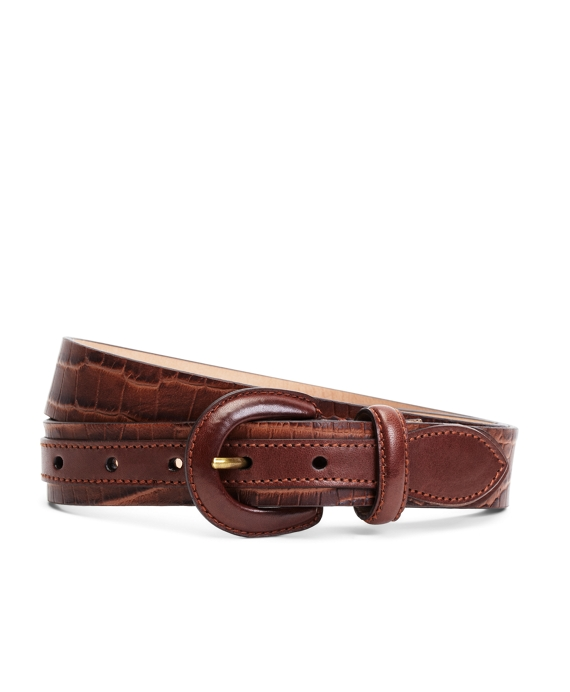 Embossed Calfskin Buckle Belt Brown