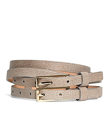 Lizard Embossed Calfskin Double Belt