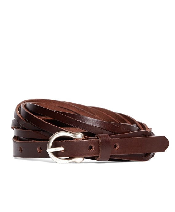 Braided Calfskin Belt Brown