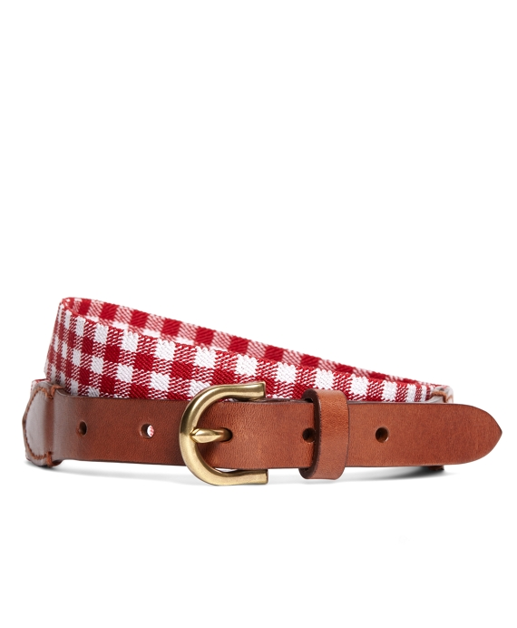 Gingham Stretch Belt Red