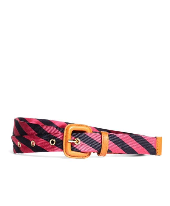 Silk Tie Stripe Belt Navy-Pink