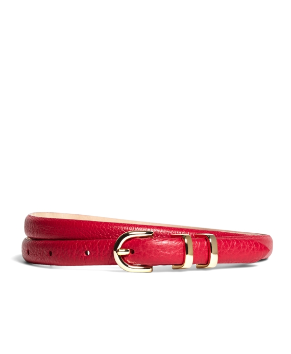 Pebble Calfskin Feathered Skinny Belt Dark Pink