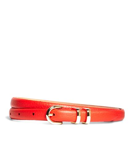 Pebble Calfskin Feathered Skinny Belt