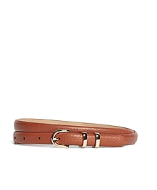Pebble Calfskin Feathered Skinny Belt