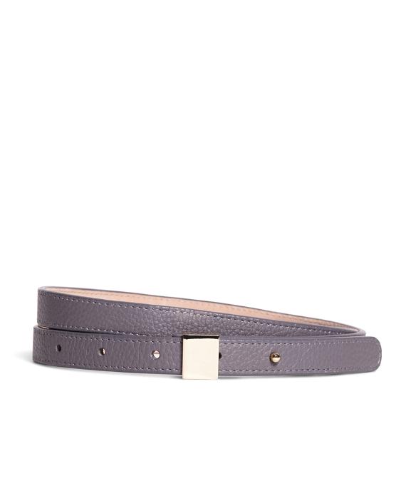 Pebble Calfskin Leather Belt Grey