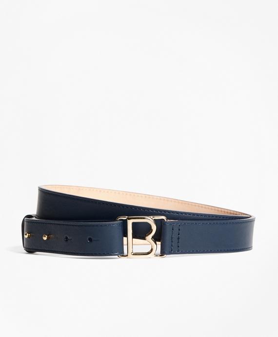 "1"" Skinny Leather ""B"" Buckle Belt Navy"
