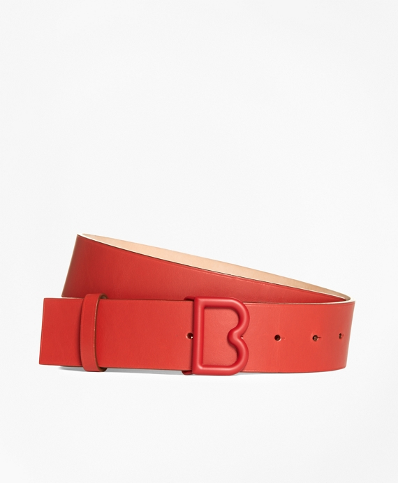 """1 ½"""" Leather """"B"""" Buckle Belt Red"""