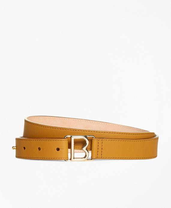 "1"" Skinny Leather ""B"" Buckle Belt"