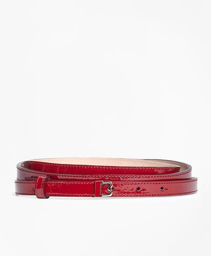 "Skinny Patent Leather ""B"" Buckle Belt"