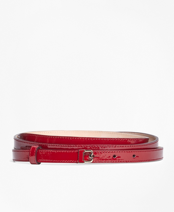 "Skinny Patent Leather ""B"" Buckle Belt Red"