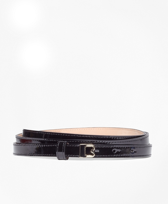 "Skinny Patent Leather ""B"" Buckle Belt Black"