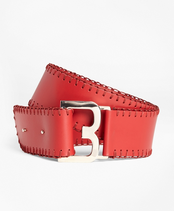 Whipstitched Leather Belt Red
