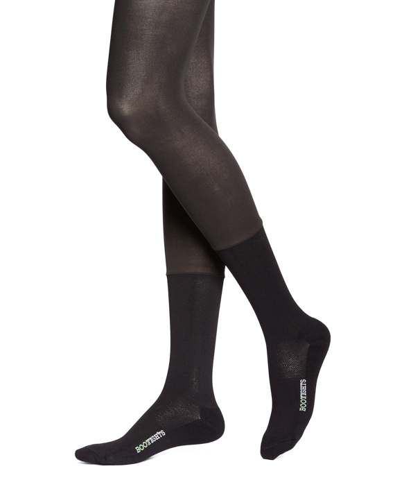 BOOTIGHTS Semi-Opaque Tights with Crew Sock Style Black