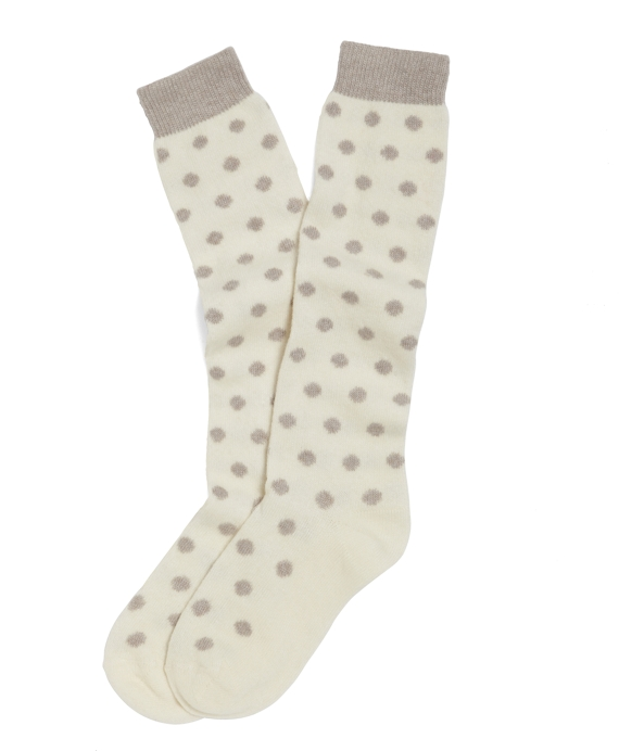 Dot Knee-High Socks Cream