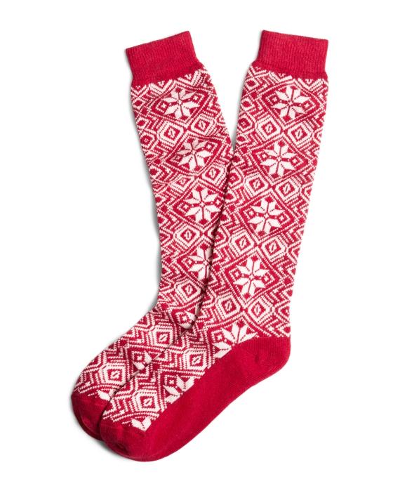 Fair Isle Knee Socks Red