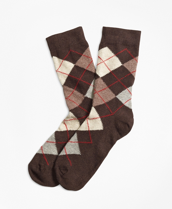 Argyle Crew Socks Brown