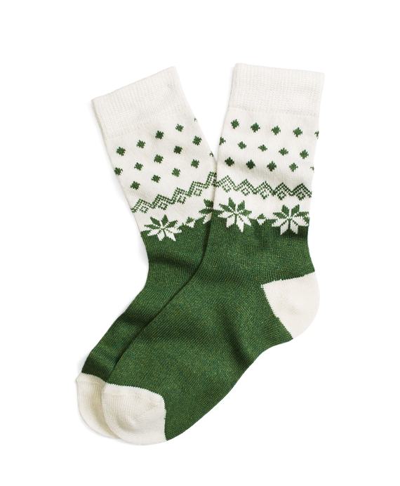 Merino Wool Blend Fair Isle Socks Green