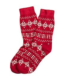 Snowflake Wool Blend Crew Socks