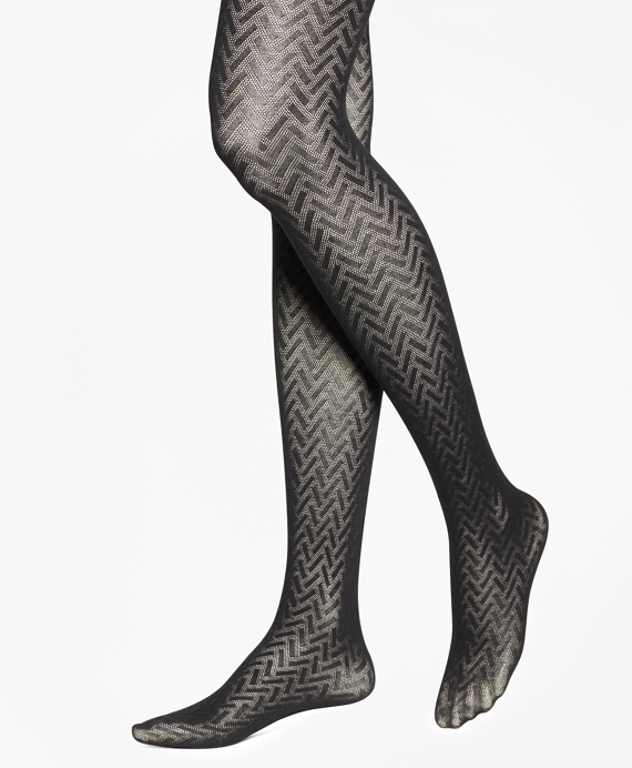 Basketweave Cotton Tights Black
