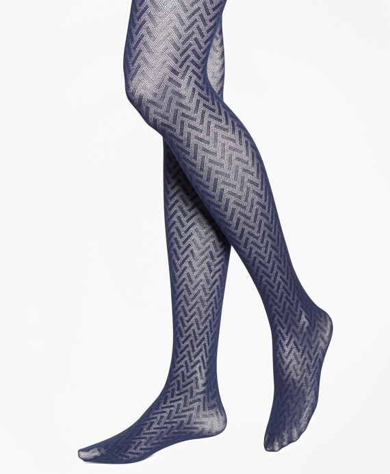 Basketweave Cotton Tights Navy