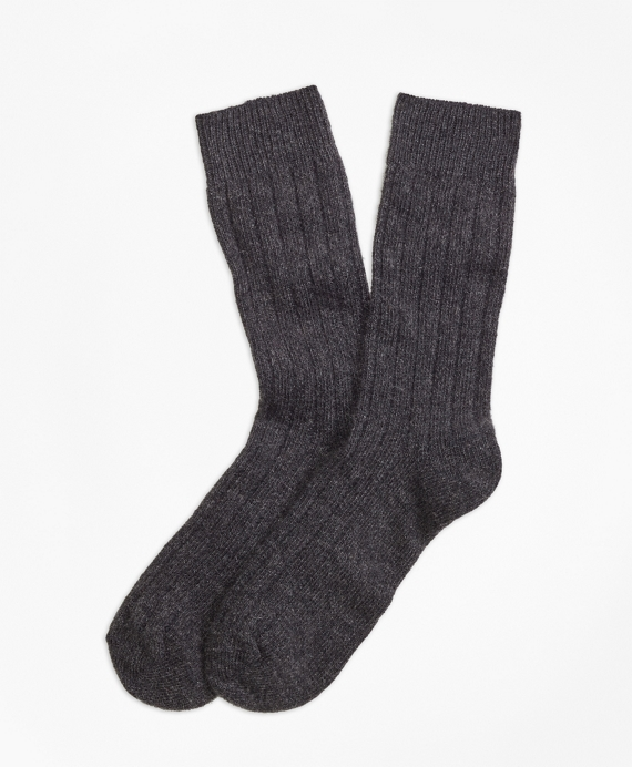 Ribbed Cashmere Dress Socks Grey