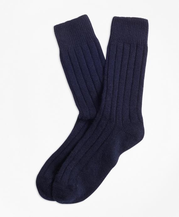 Rib-Knit Cashmere-Blend Socks Navy