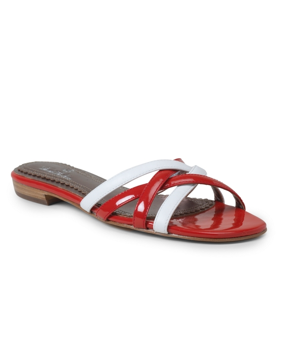 Patent Leather and Calfskin Strappy Sandals Red