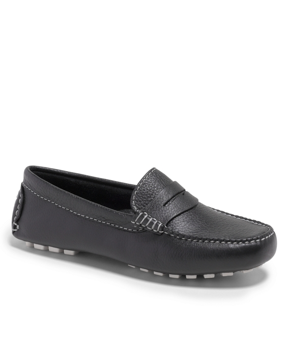 Pebble Calfskin Driver Shoes Navy