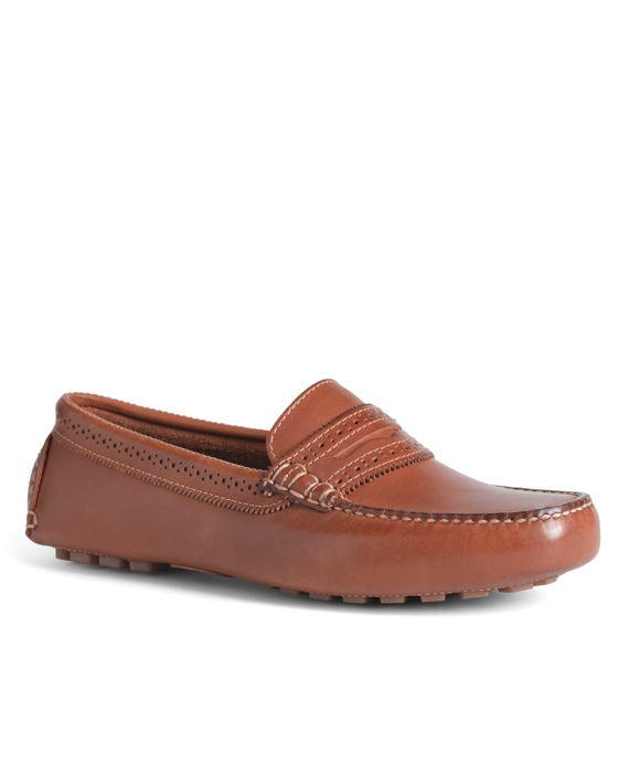 Burnished Calfskin Driver Shoes Tan