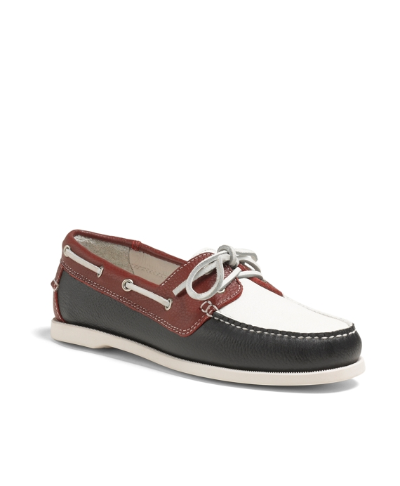 Color-Block Calfskin Boat Shoes Navy