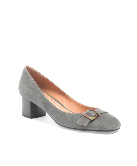 Kid Suede Low-Heel Pump Grey
