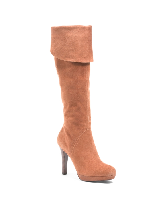 Knee-High Platform Boots Light Brown