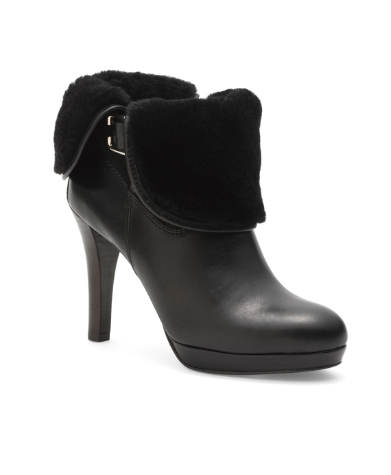 Calfskin and Shearling Ankle Boots Black