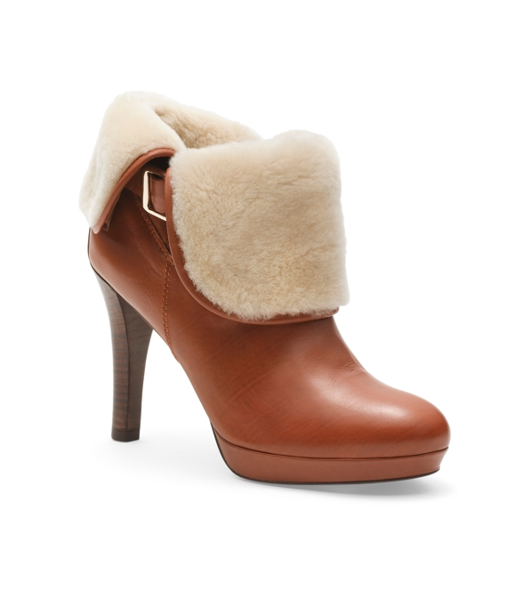 Calfskin and Shearling Ankle Boots Light Brown