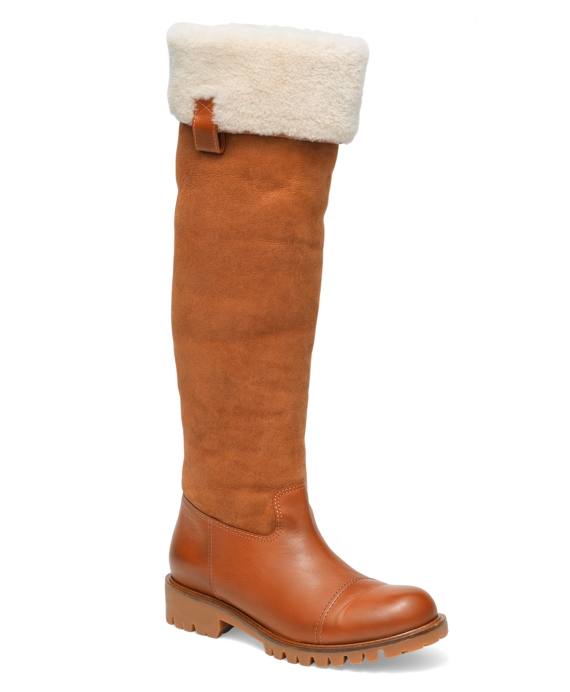 Calfskin, Suede and Shearling Flat Boots Cognac
