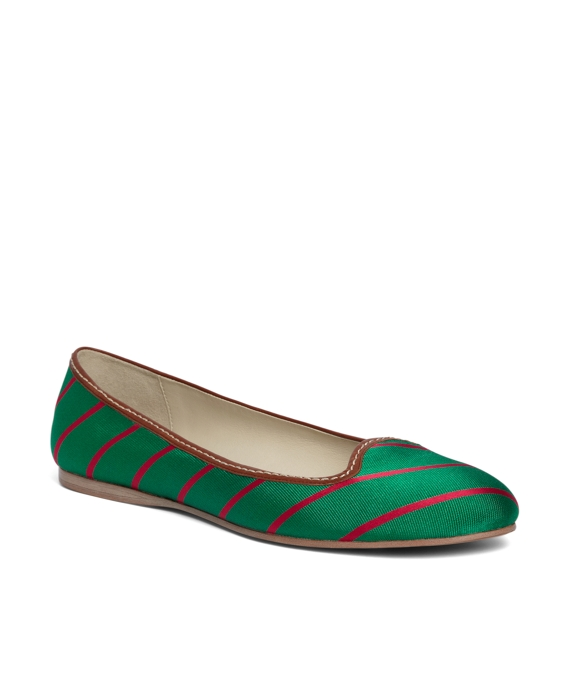 Silk Tie Striped Ballet Flat Green-Pink