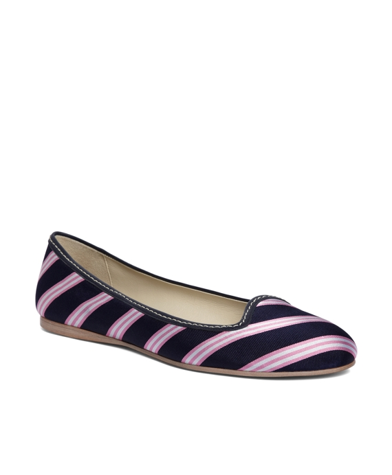 Silk Tie Striped Ballet Flat Navy-Pink-White